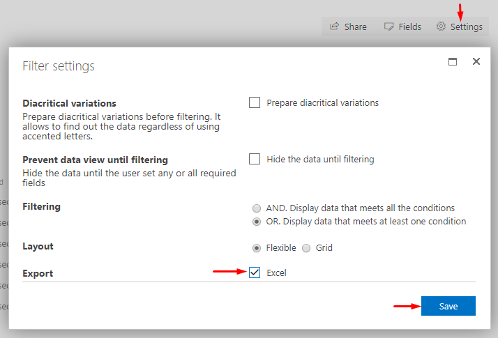 SharePoint List Filter settings dialog