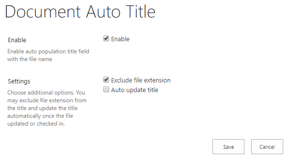 Document Auto Title Settings