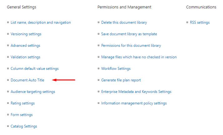 Document Auto Title menu item