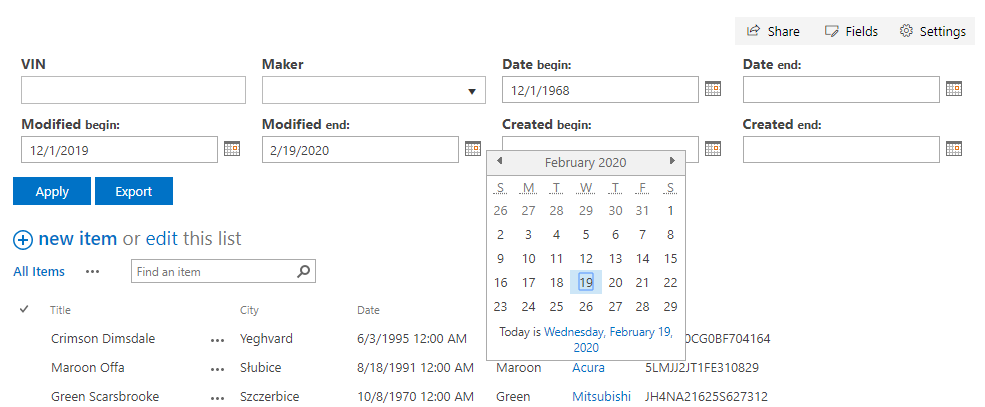 List Filter. Date Picker Control