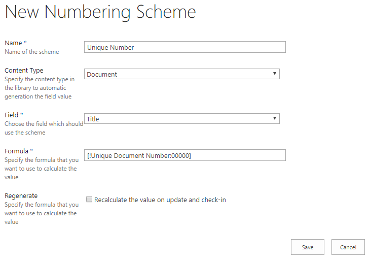 New numbering scheme form