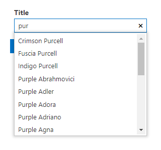 Autocomplete filtering control