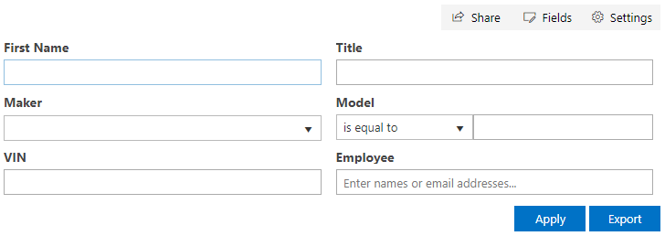 SharePoint Filter Web Part. Right-Aligned Buttons