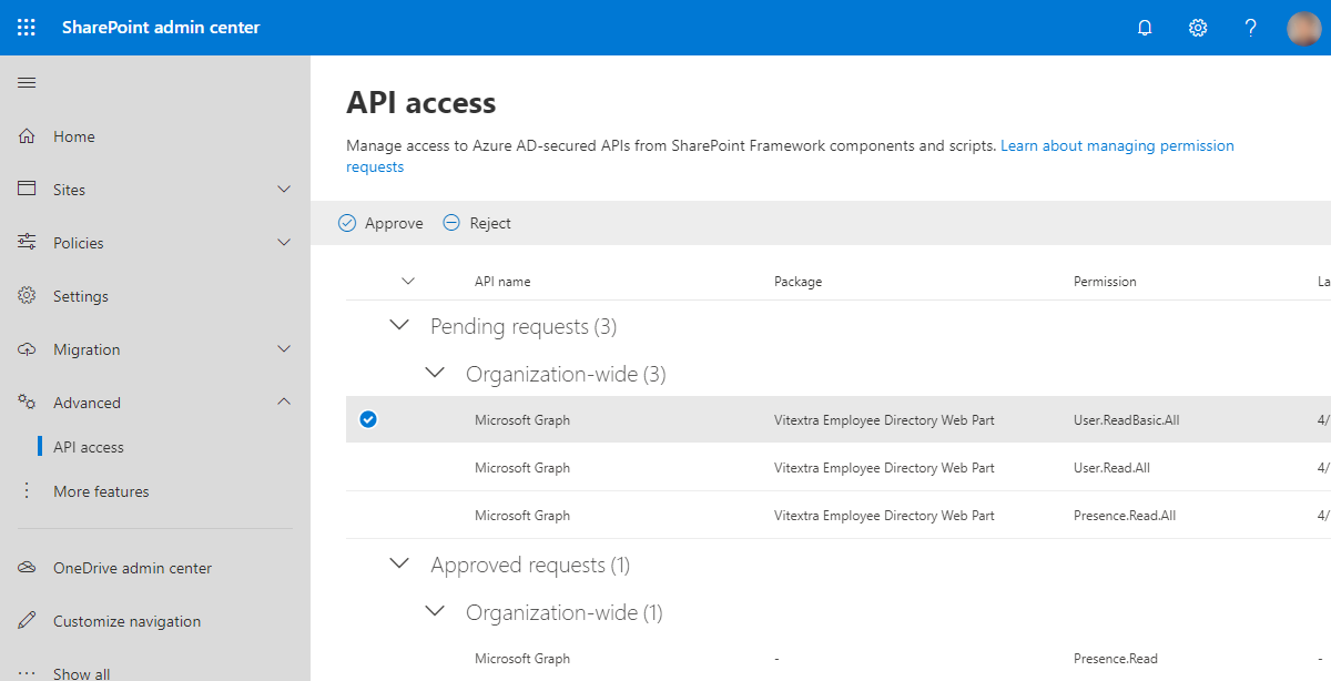 SharePoint API Access Requests