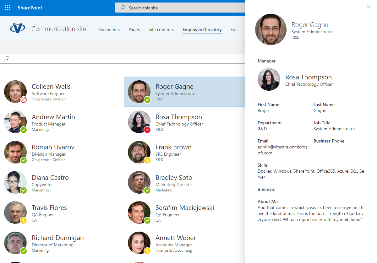 Employee Directory App Page