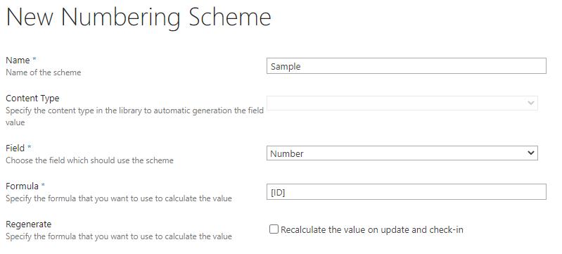 Numbering scheme form