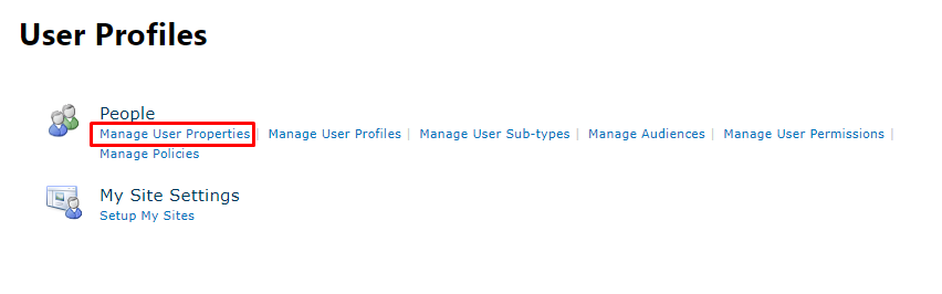User Profiles Menu