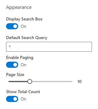 Smart Search. Appearance Settings