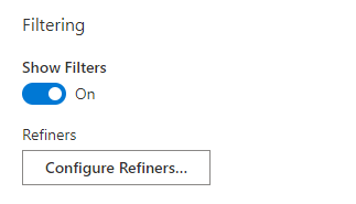 Smart Search. Filtering Settings