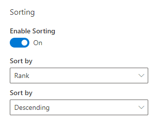 Smart Search. Sorting Settings