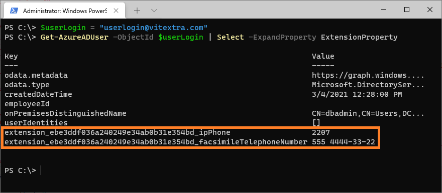 Extension Property of user object in Azure AD