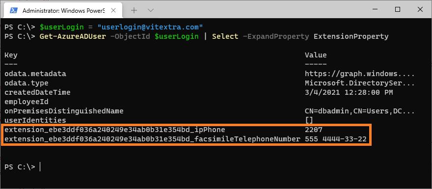 Свойство расширения объекта пользователя в Azure AD