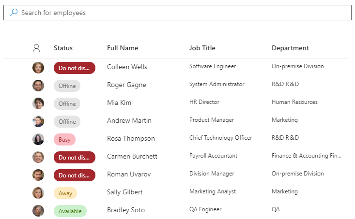 Employee Directory. Details View