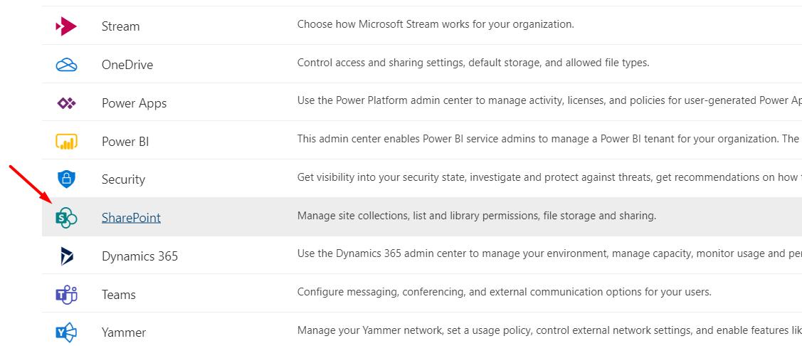 Open SharePoint Admin Center