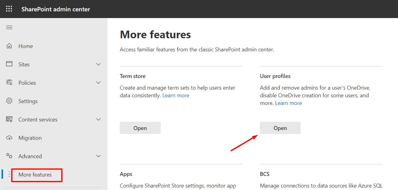 Open User Profiles Settings