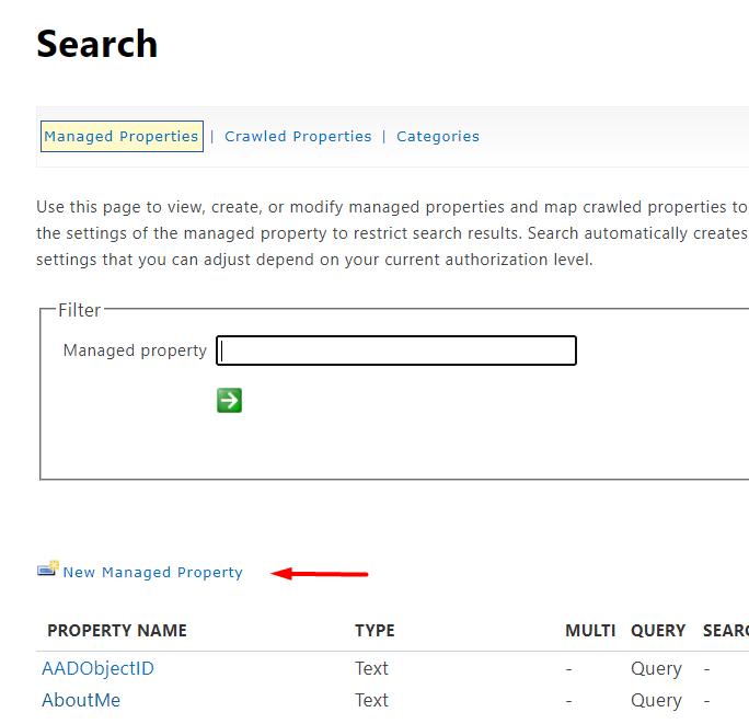 Create new Managed Property