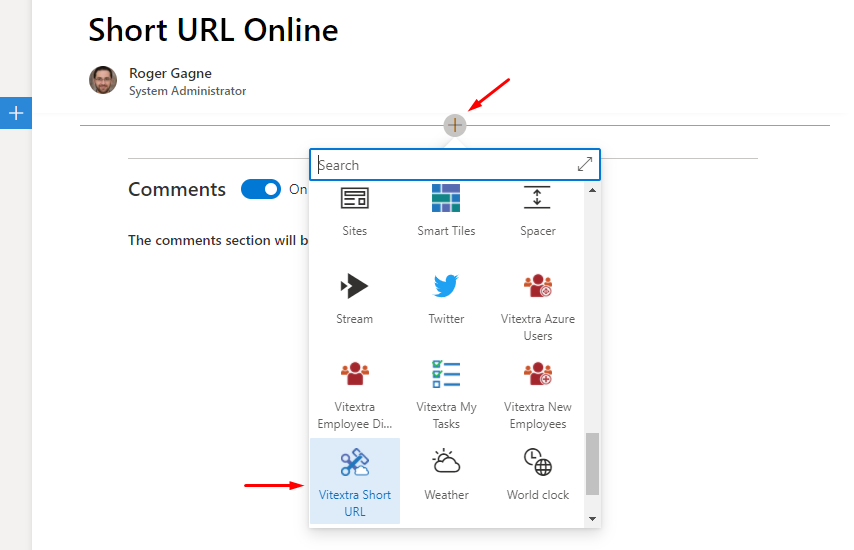 Add Short URL web part