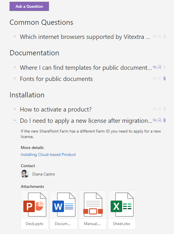 Vitextra Questions & Answers Web Part