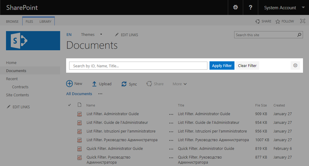 SharePoint Quick Filter Web Part
