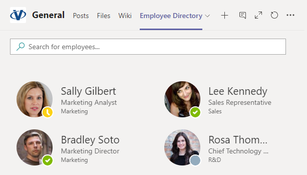 Vitextra Employee Directory. Microsoft Teams Integration