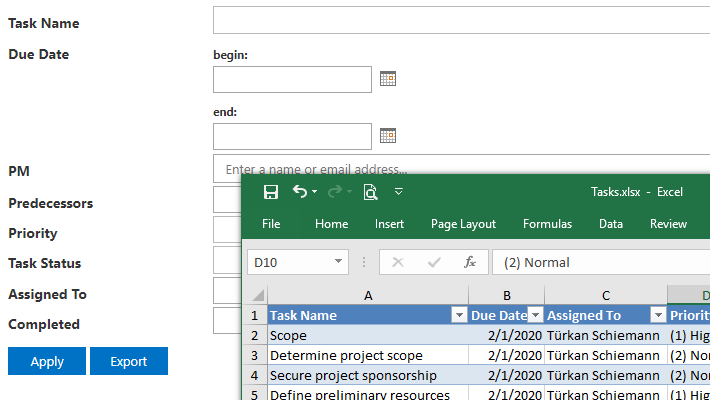 Vitextra List Filter. Export data to Excel