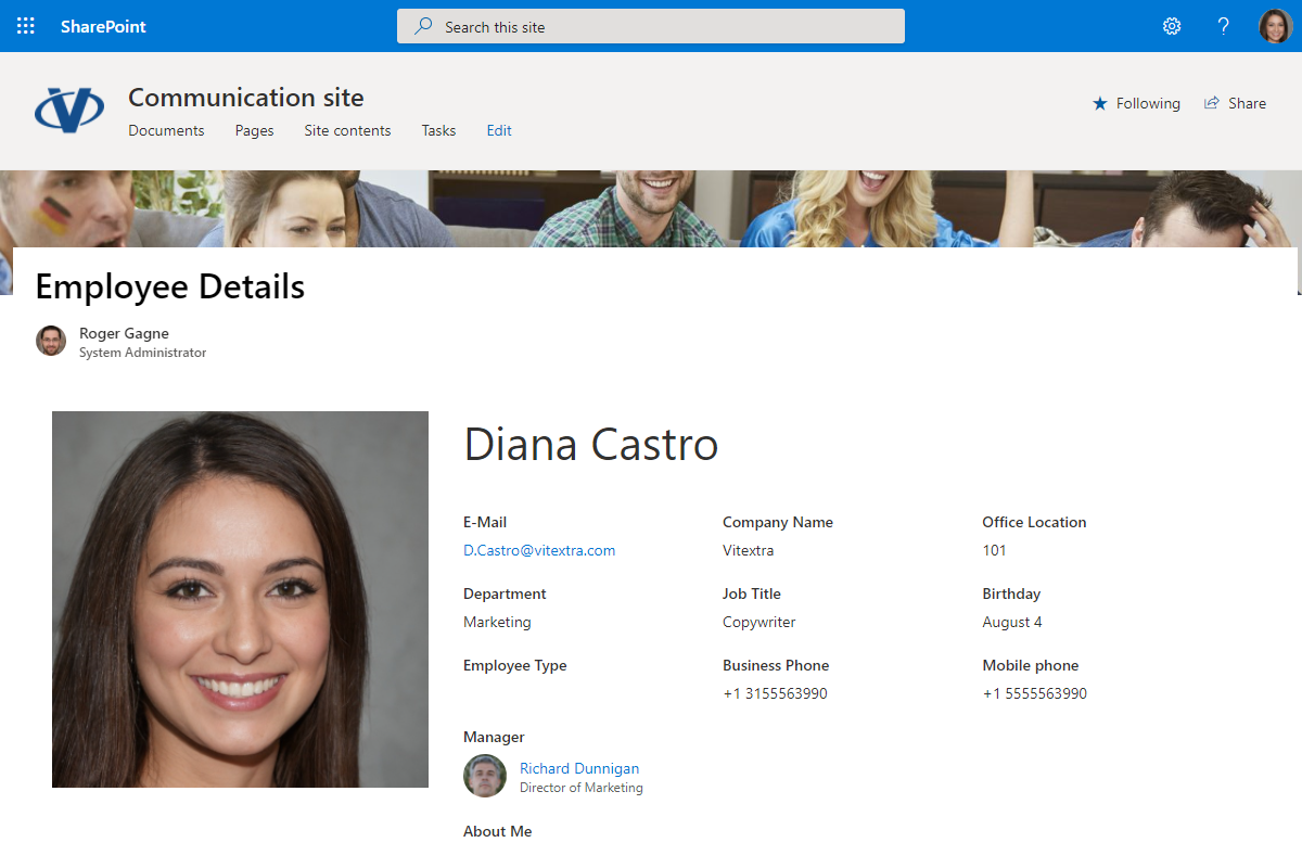 Employee Details and Employee Picture web parts on modern SharePoint page