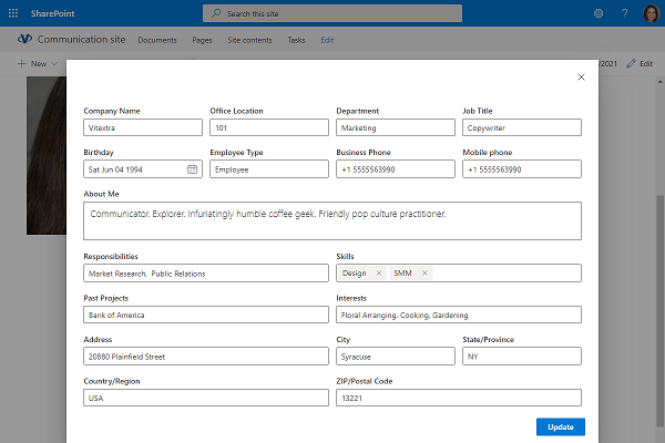 User Profile Update Dialog on SharePoint site