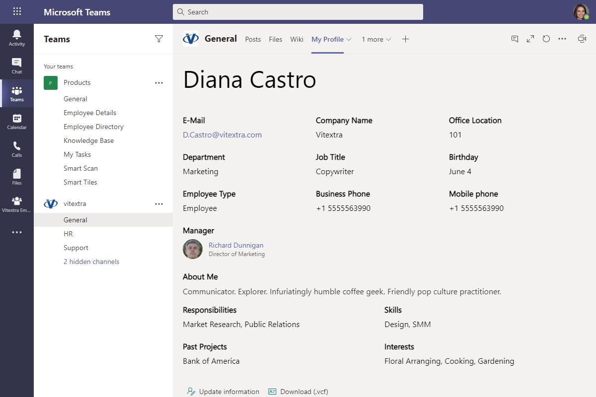 Employee Details in Microsoft Teams Channel