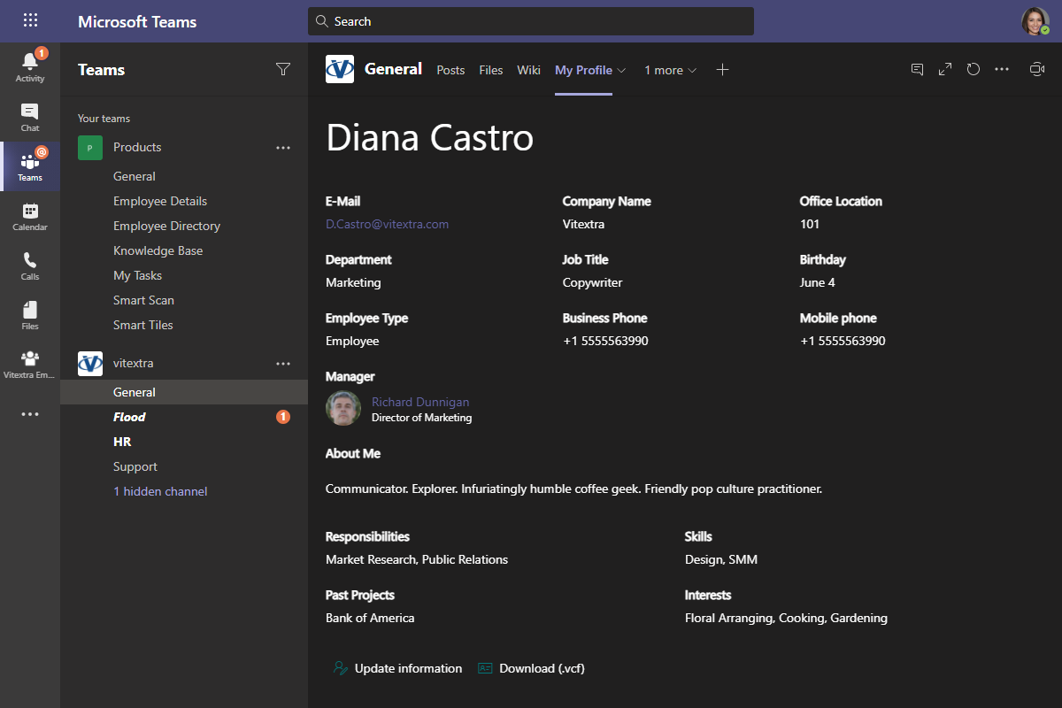 Employee Details in Microsoft Teams Channel (Dark Theme)