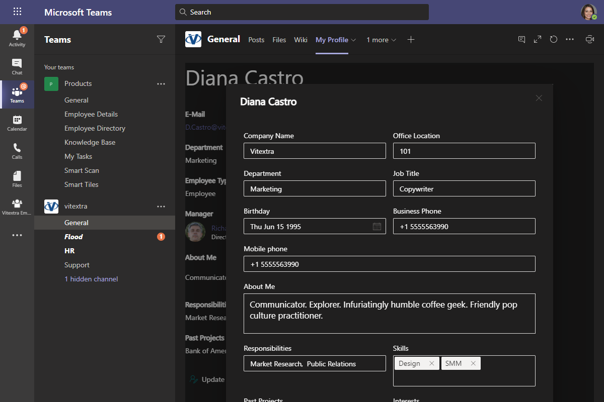 Update Employee Details in Microsoft Teams