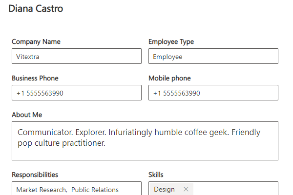 Vitextra Employee Details. Self-Update User Profiles