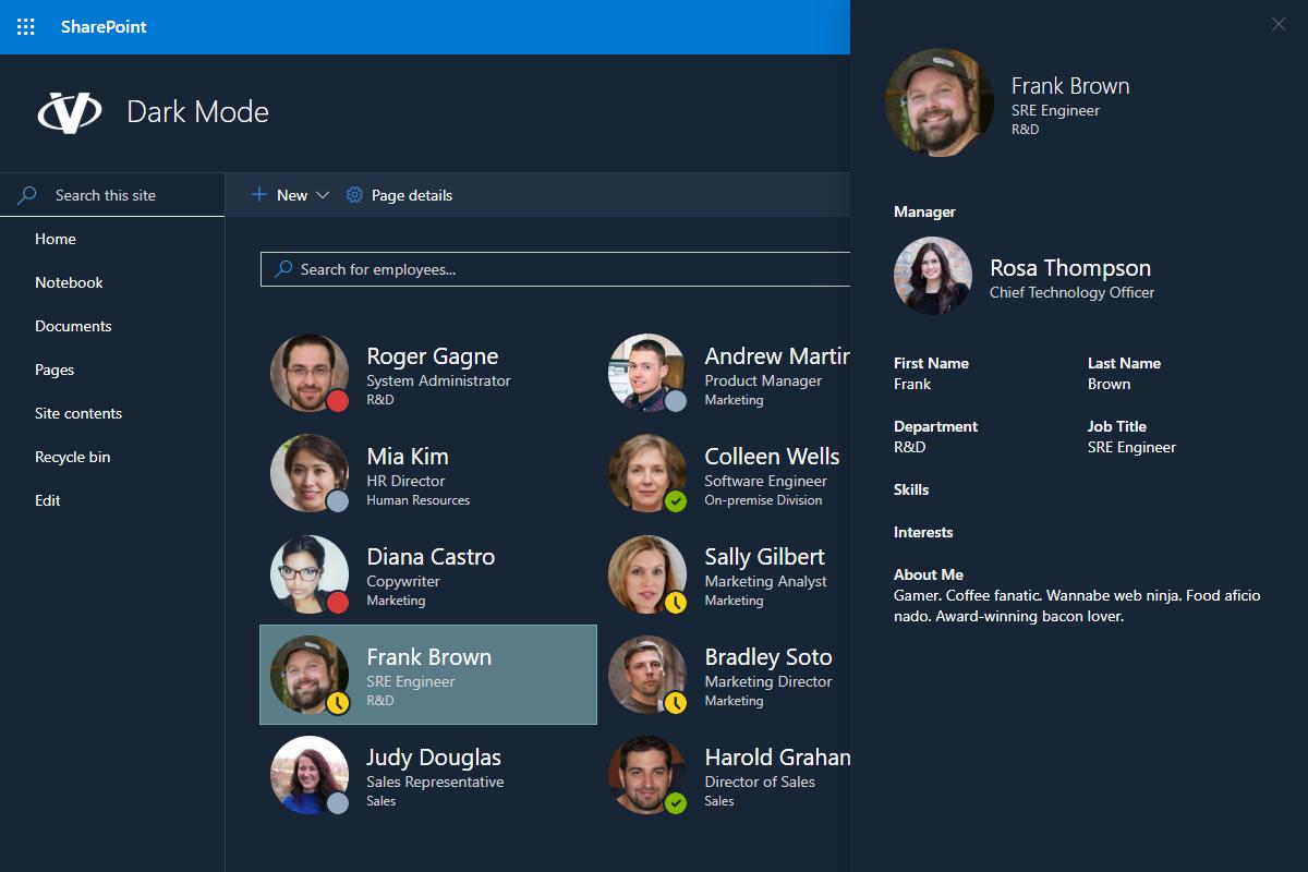 Dark Mode of Employee Directory Web Part