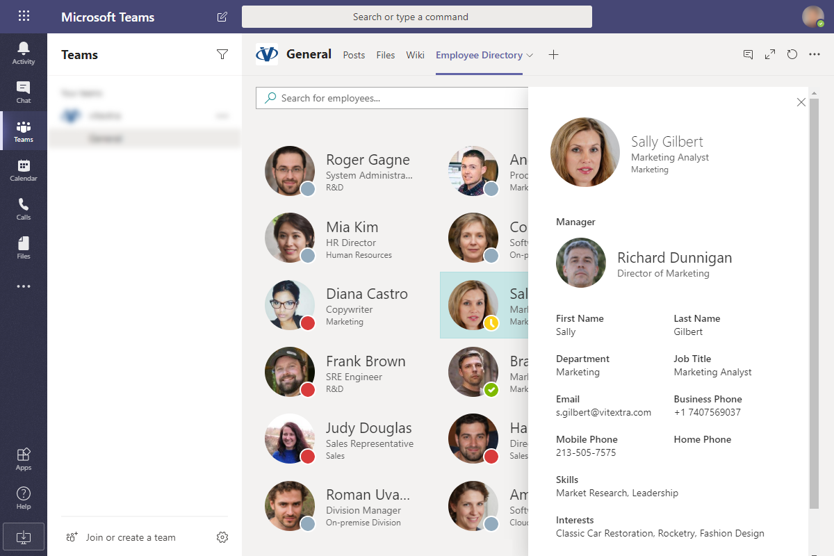 Employee Directory App integrated to Microsoft Teams channel