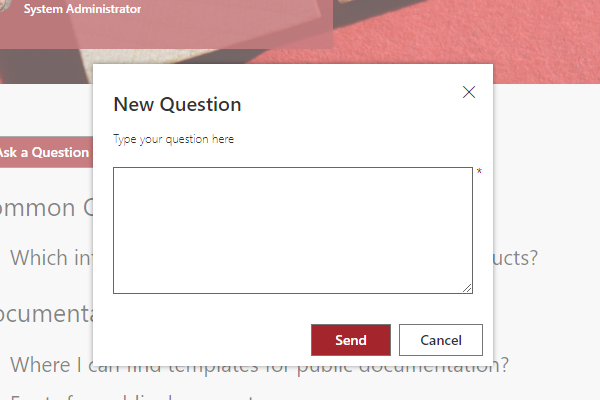 Vitextra Question and Answers. New Question Dialog