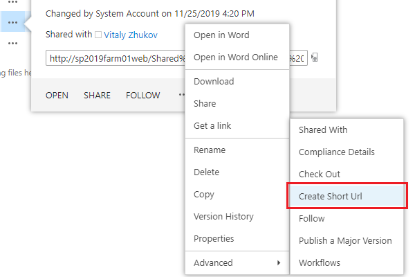 Create Short Url in a single click within item context menu