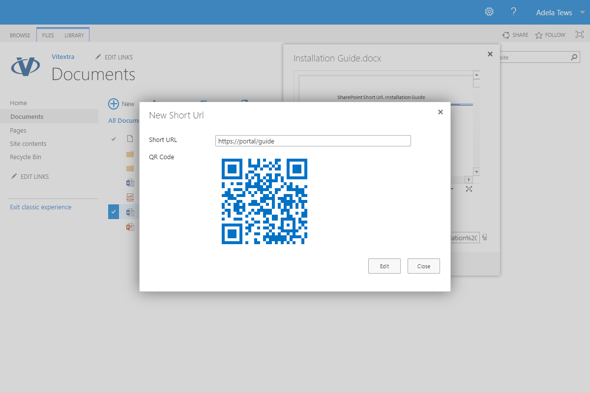 Share created Short Url with QR-code (SharePoint 2019)