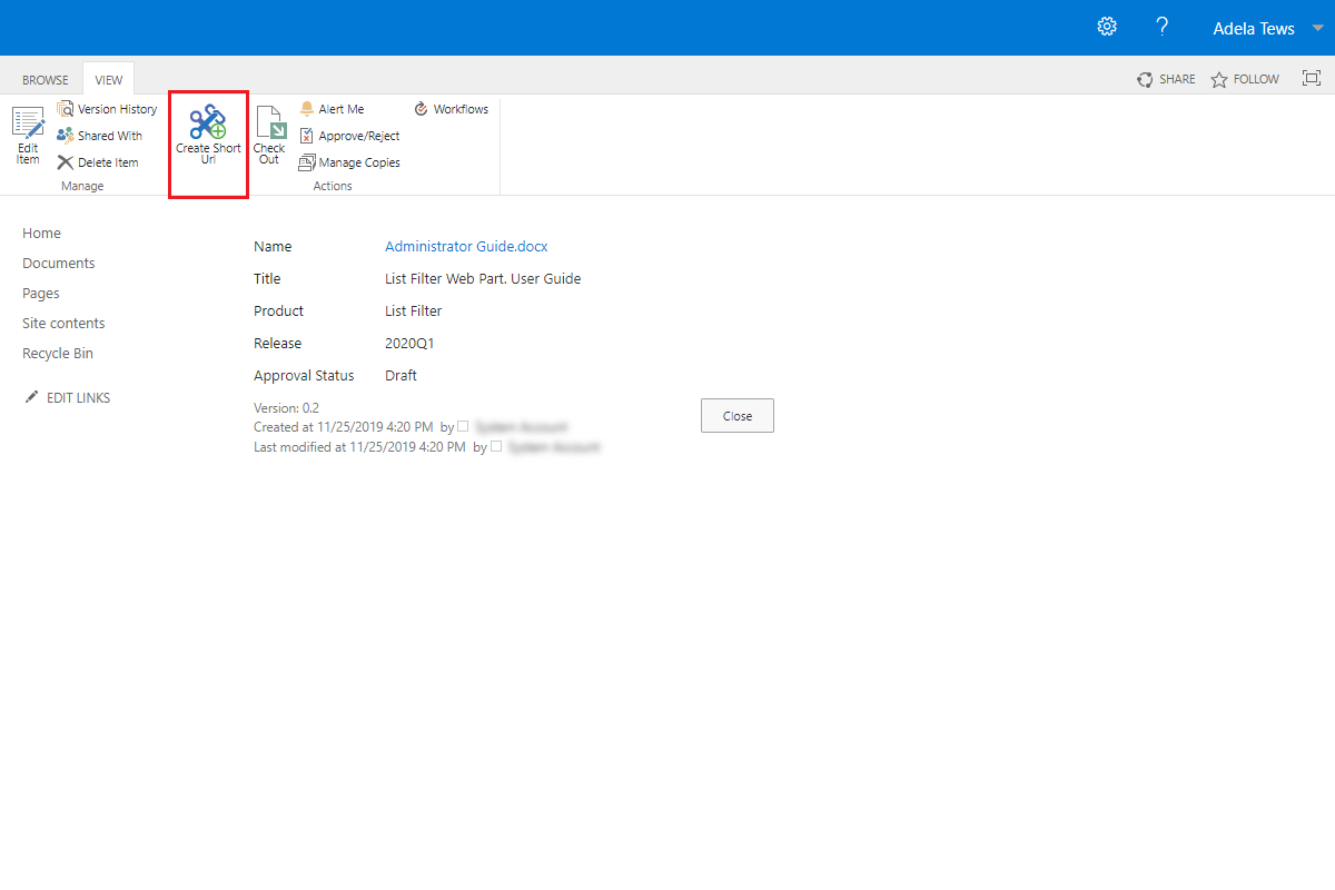 Create Short Url action in SharePoint Ribbon menu (SharePoint 2019)